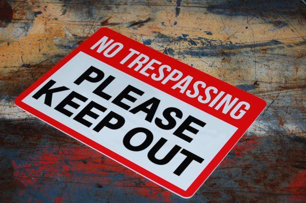 Styrene Printing No Trespassing Sign