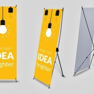 X Stand Banner with Text and Lightbulbs